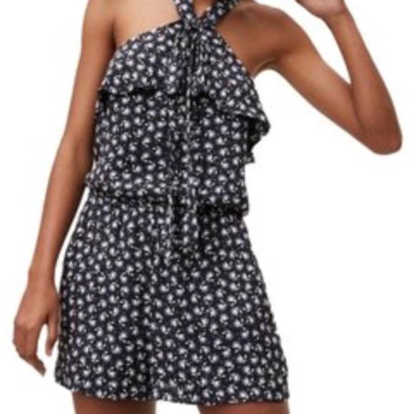 ed2725aa5cd4 LOFT Pants - Black and white floral romper